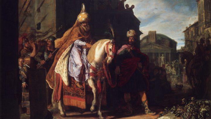The triumph of Mordechai *oil on panel *52 x 71,5 cm *1617